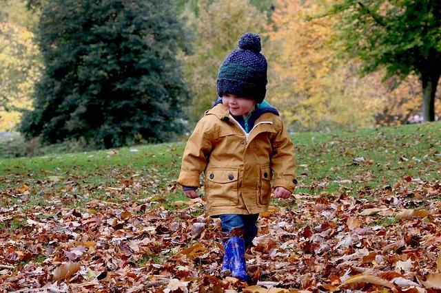 malé dítě a podzimní krajina